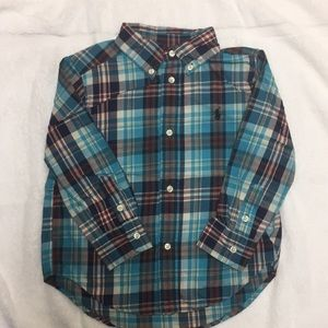 NWOT Blue Plaid Ralph Lauren Button Down Shirt